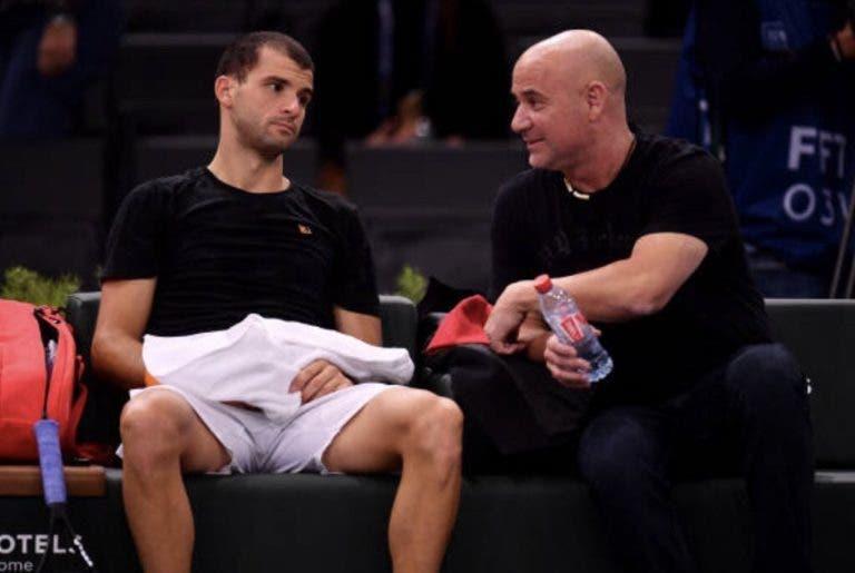 Dimitrov faz-se acompanhar de Agassi em 2019