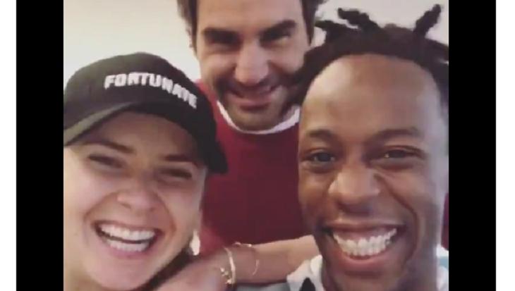 [VÍDEO] Federer interrompe vídeo 'romântico' de Svitolina e Monfils. «Olá pessoal!»