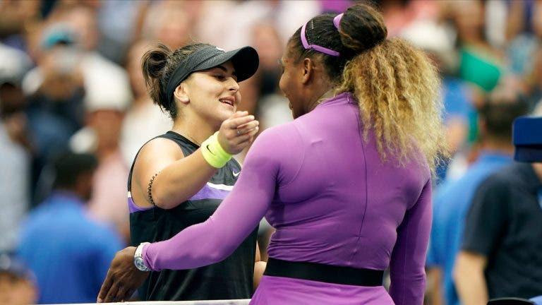 Andreescu conta momento no balneário com Serena Williams