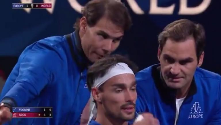 [VÍDEO] Federer faz de 'treinador' de Fognini: «Quero ver-te positivo!»