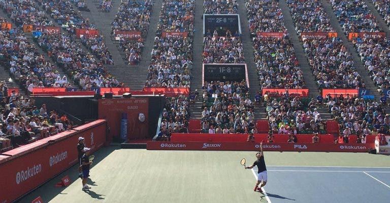 [Fotos] 9 mil pessoas encheram o estádio para… um treino de Kei Nishikori em Tóquio