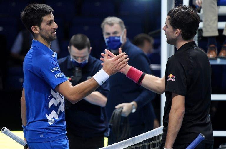 Djokovic deixa mensagem a Thiem: «Demonstraste coragem e mereceste vencer»