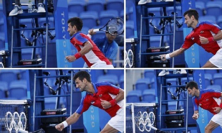 Djokovic teve ataque de fúria, atirou raqueta para a bancada e depois destruiu-a