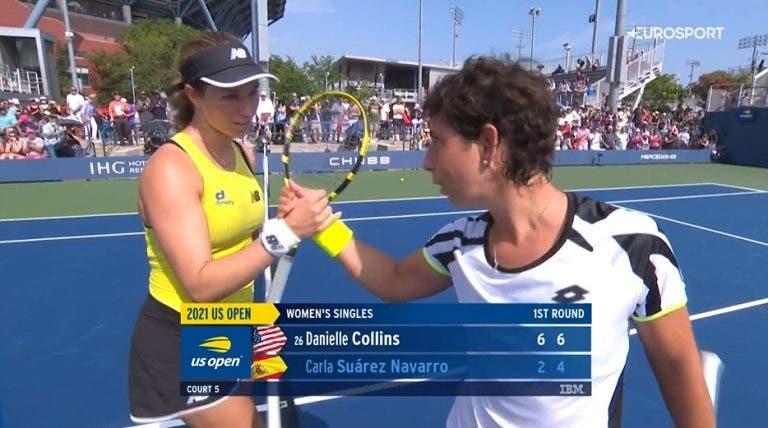 Suárez Navarro perde com Collins no último Grand Slam da carreira
