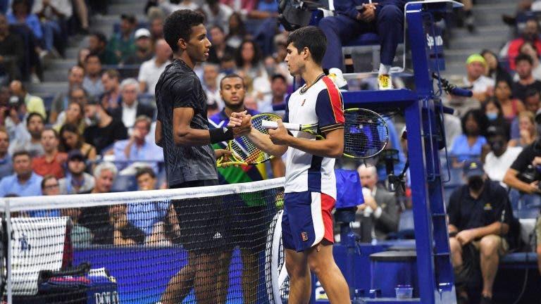 Alcaraz rebenta e Auger-Aliassime estreia-se em meias-finais de Grand Slam