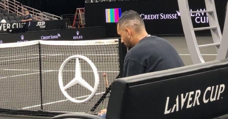 Kyrgios já está a treinar para a Laver Cup com um novo penteado… muito tenístico